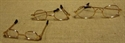 Billede af Briller ovale m. guldstel og plastglas til 40 cm. nisse