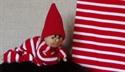 Billede af blusestof  rød og hvidstribet